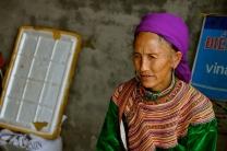 Flower Hmong woman outside Ban Pho