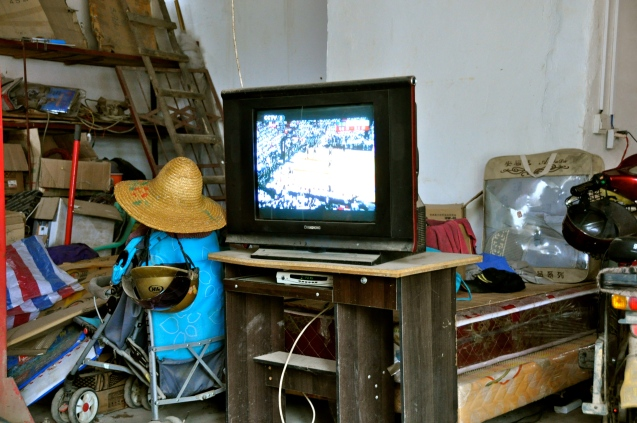 Watching the NBA Finals in a garage in Daxin
