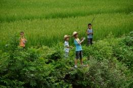 Children Fishing in Mingshi Village
