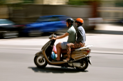Motorbike whizzing by