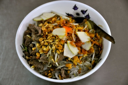 Bun Bo: beef, noodles, mint, basil, fried onions, carrot, pickled radish, bean sprouts, lettuce, peanuts