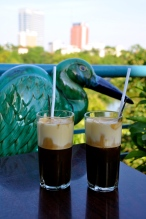 Ca phe trung: iced coffee with raw whipped egg