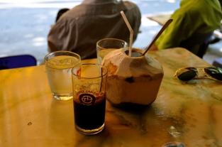 Ca Phe Den Da: Iced black coffee Coconut Juice