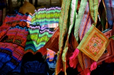 Hmong handicrafts for sale at Can Cau market