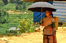 Flower Hmong woman trying to keep cool at Can Cau market