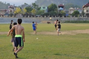 Evening soccer game in Bac Ha