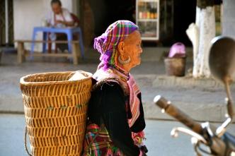 Flower Hmong woman at Bac Ha Sunday market