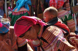 Baby strapped to the back of a Flower Hmong woman at Bac Ha Sunday market