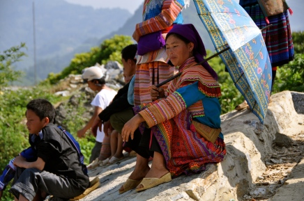 Flower Hmong woman at Bac Ha Sunday market