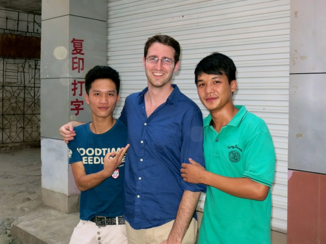 Two boys who asked Eric for a photo in Daxin