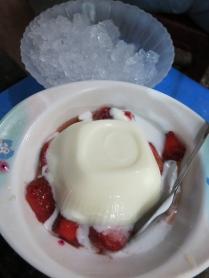 Sua Chua Dau: yogurt, strawberries, tapioca balls, sticky rice, fruit jellies served with shaved ice