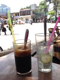 Iced Coffee and Lemon Juice