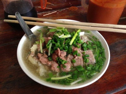 Pho Bo: rice noodle soup with beef