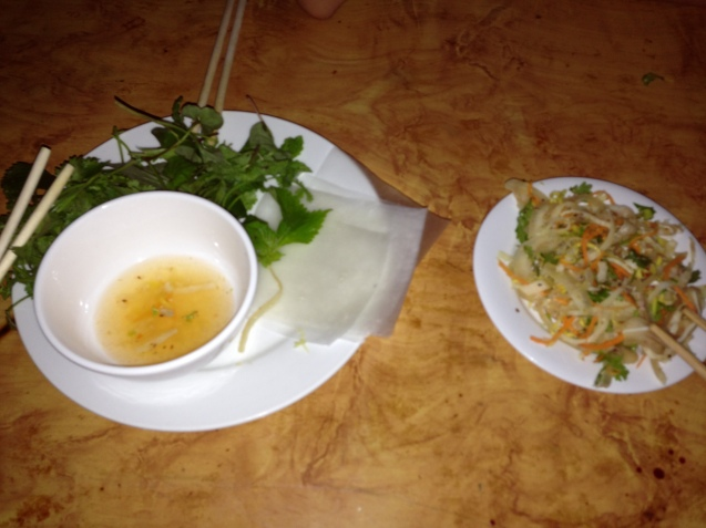 Pig ear salad with rice paper wraps