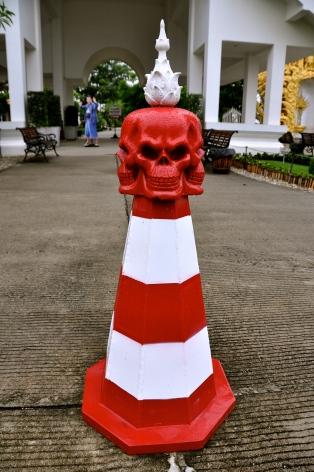 Traffic cone at Wat Rong Khun
