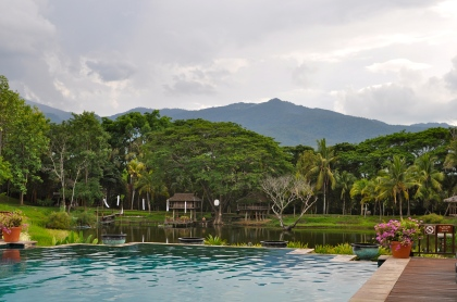 Big pool surrounded by mountains