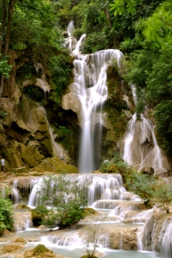 The tallest cascade at Kuang Si Waterfall