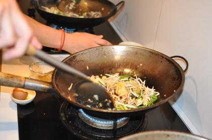 Frying up a stir fry