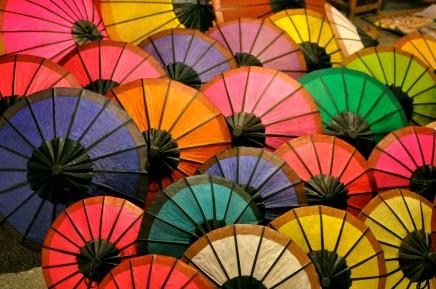 Colorful parasols at the night market