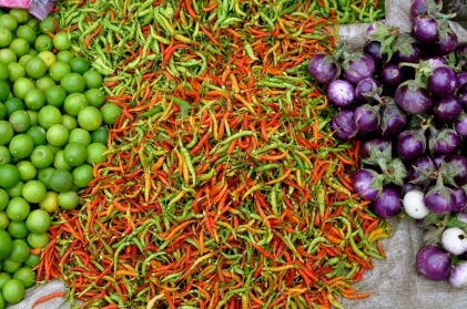 Limes, chili peppers, and tiny eggplants