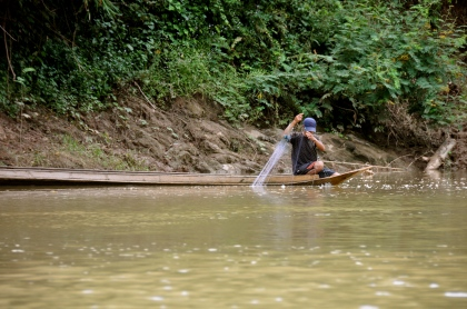 Man fishing on the Nam Ou River