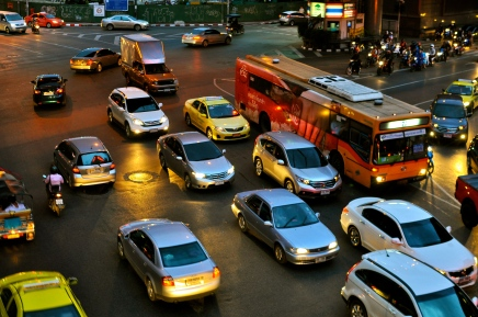 Bangkok's crazy traffic at night