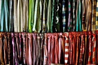 Handmade scarves display