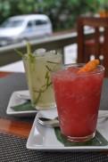 Watermelon/chili granita & lime/lemongrass granita at Tamarind Cafe