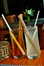 Rosella lemongrass with lao lao (Laotian whiskey) & ginger lemongrass cocktail at Tamarind Cafe