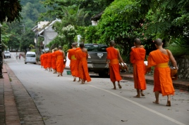 Morning alms giving ceremony