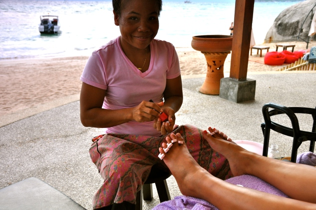Beachside pedicure