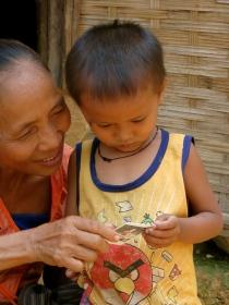 Sharing a photo with Grandma