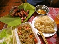 Grilled pork, papaya salad, sticky rice