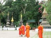 Monks touring Wat Xieng Toung