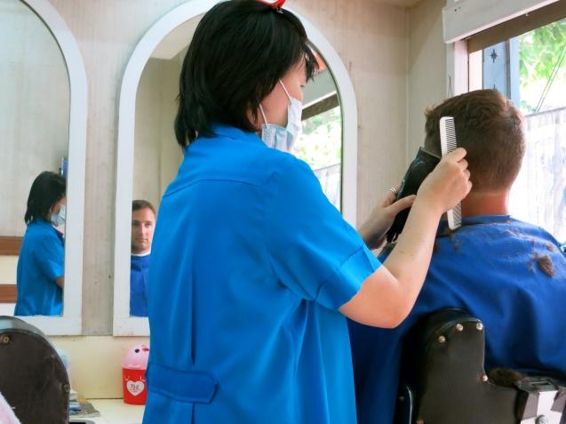 Eric getting a haircut