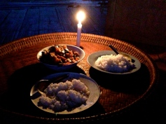 Our candlelit dinner (no electricity)